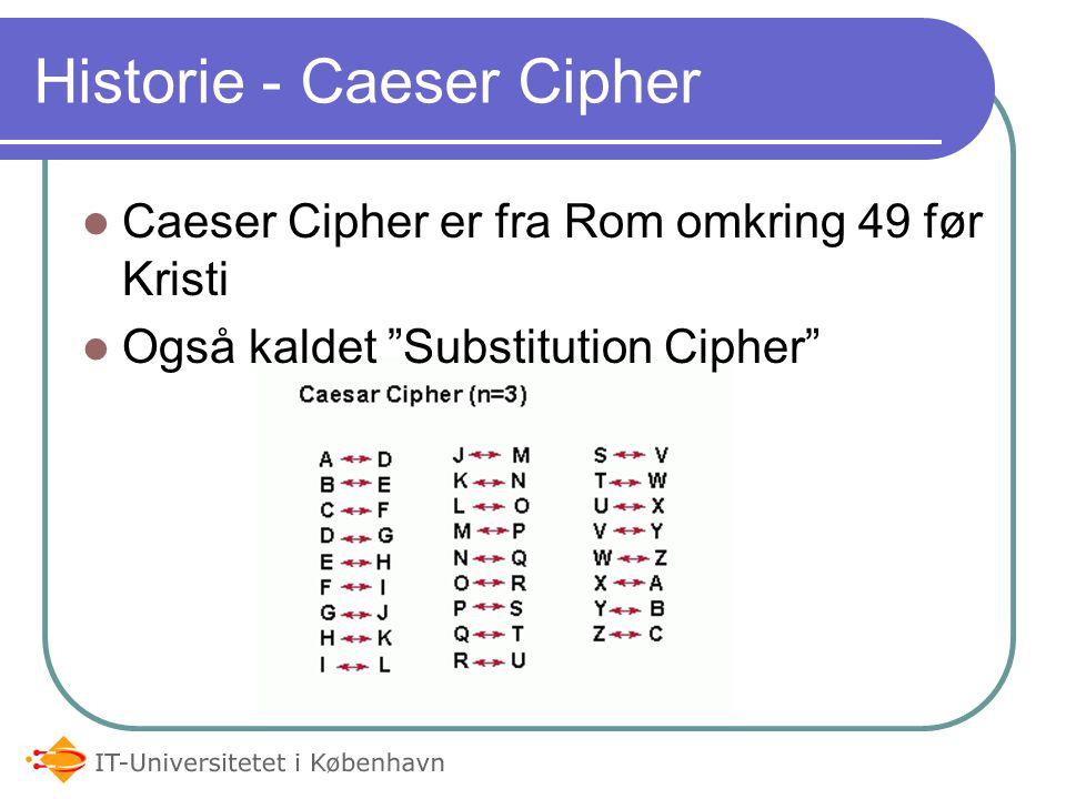 Historie - Caeser Cipher Caeser Cipher er fra Rom omkring 49 før Kristi Også kaldet Substitution Cipher