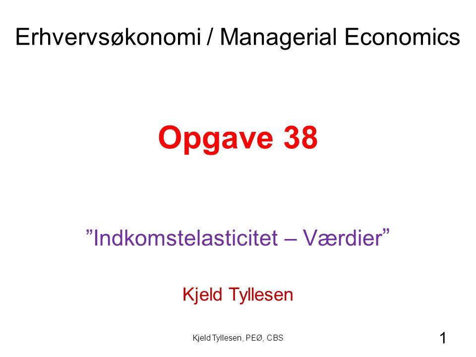 1 Opgave 38 Indkomstelasticitet – Værdier Kjeld Tyllesen Erhvervsøkonomi / Managerial Economics Kjeld Tyllesen, PEØ, CBS