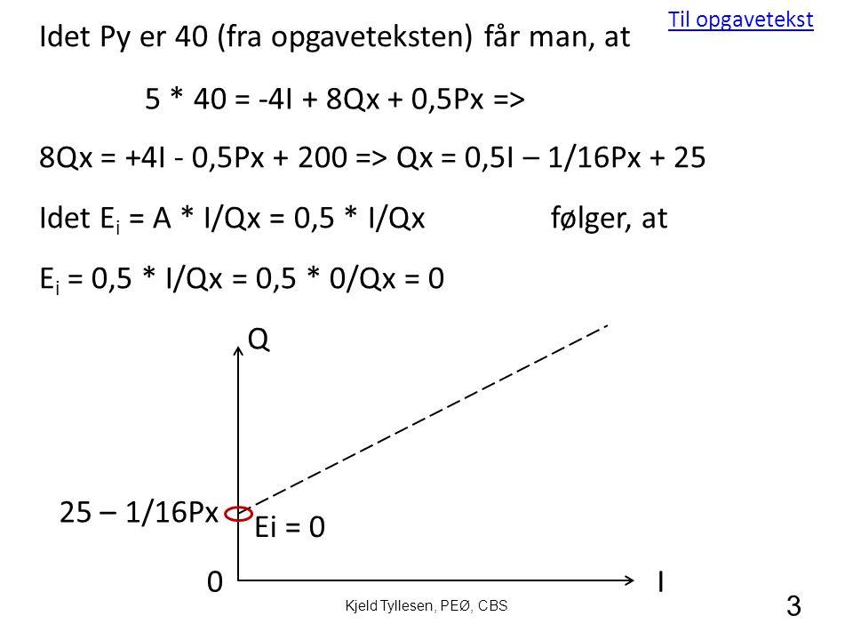 3 Idet Py er 40 (fra opgaveteksten) får man, at 8Qx = +4I - 0,5Px + 200 => Qx = 0,5I – 1/16Px + 25 Q I 25 – 1/16Px Idet E i = A * I/Qx = 0,5 * I/Qxfølger, at E i = 0,5 * I/Qx = 0,5 * 0/Qx = 0 5 * 40 = -4I + 8Qx + 0,5Px => Ei = 0 0 Kjeld Tyllesen, PEØ, CBS Til opgavetekst