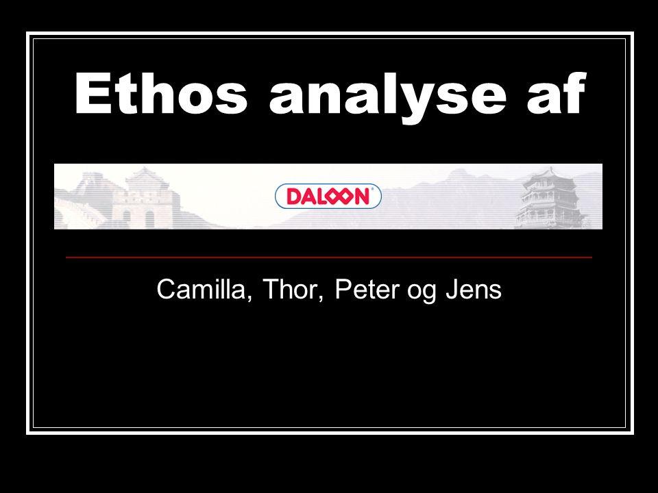 Ethos analyse af Camilla, Thor, Peter og Jens