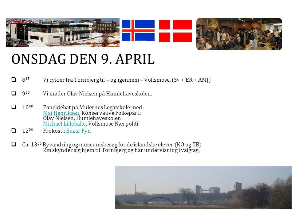 ONSDAG DEN 9. APRIL  8 15 Vi cykler fra Tornbjerg til – og igennem – Vollsmose.