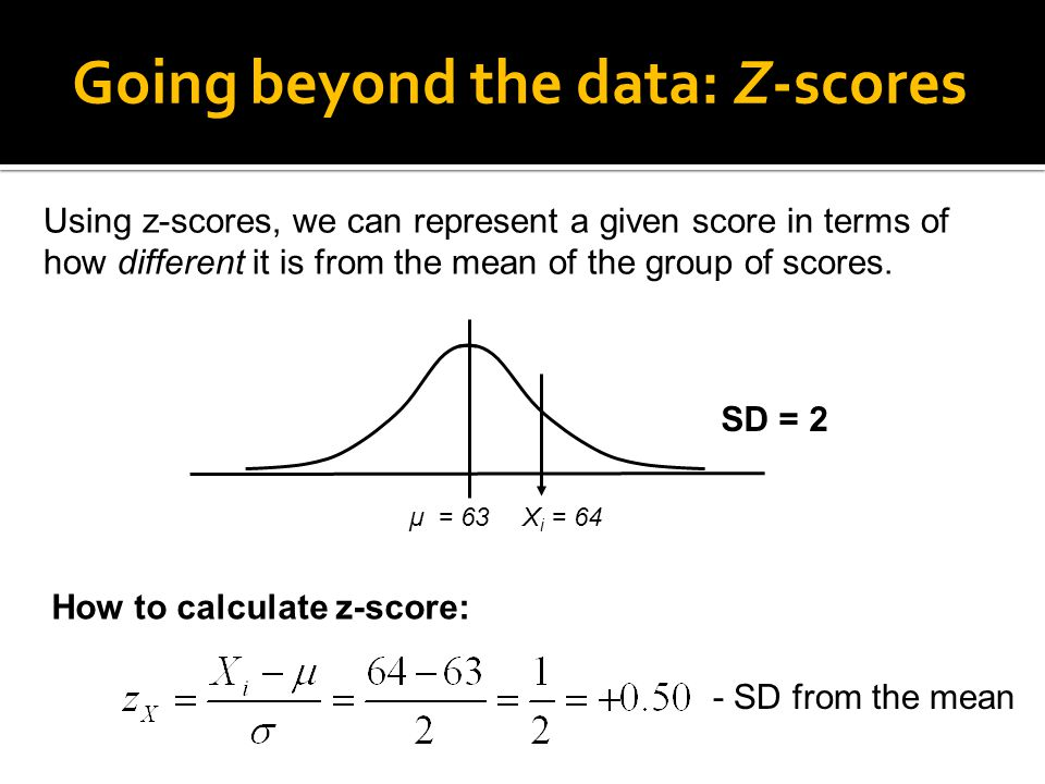 Using z-scores, we can represent a given score in terms of how different it is from the mean of the group of scores.