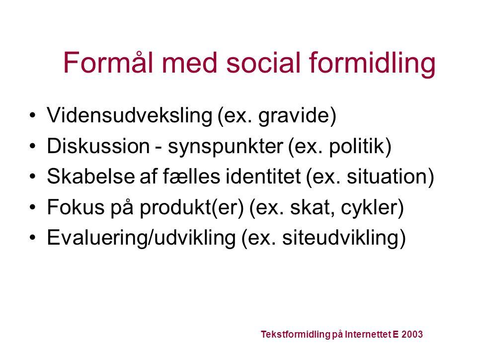 Tekstformidling på Internettet E 2003 Formål med social formidling Vidensudveksling (ex.