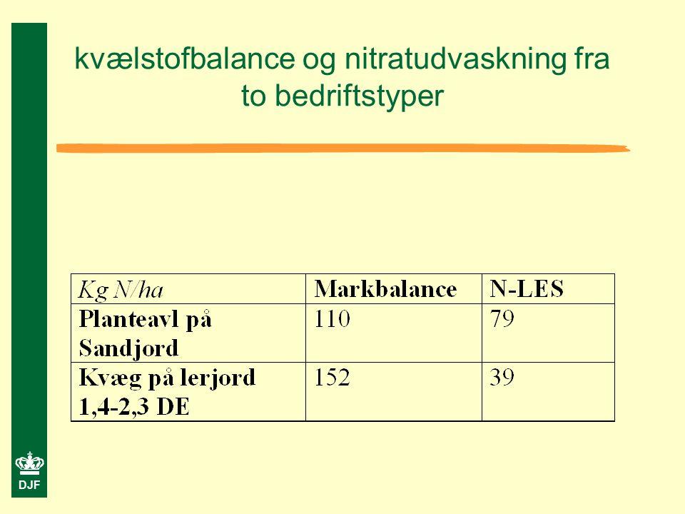 DJF kvælstofbalance og nitratudvaskning fra to bedriftstyper