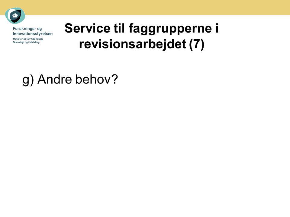 Service til faggrupperne i revisionsarbejdet (7) g) Andre behov