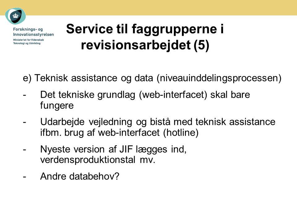 Service til faggrupperne i revisionsarbejdet (5) e) Teknisk assistance og data (niveauinddelingsprocessen) -Det tekniske grundlag (web-interfacet) skal bare fungere -Udarbejde vejledning og bistå med teknisk assistance ifbm.