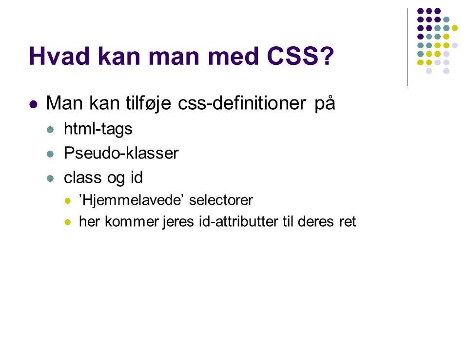 Hvad kan man med CSS.