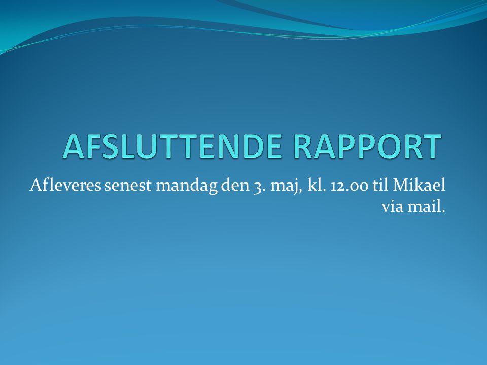 Afleveres senest mandag den 3. maj, kl. 12.00 til Mikael via mail.