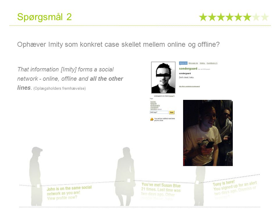 Spørgsmål 2 Ophæver Imity som konkret case skellet mellem online og offline.