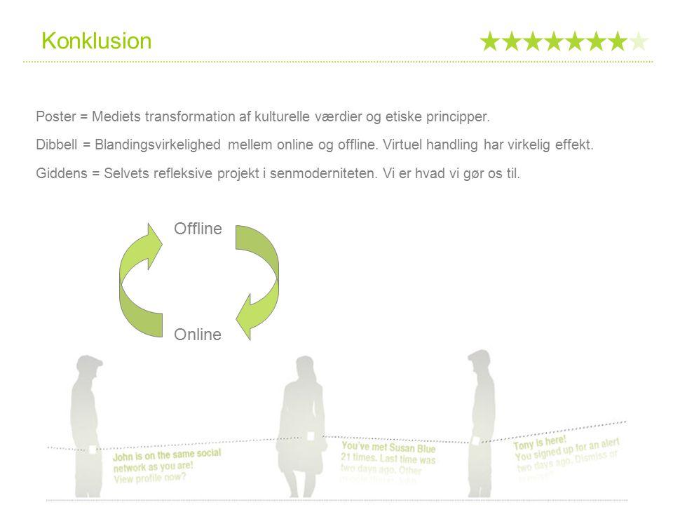 Konklusion Offline Online Poster = Mediets transformation af kulturelle værdier og etiske principper.