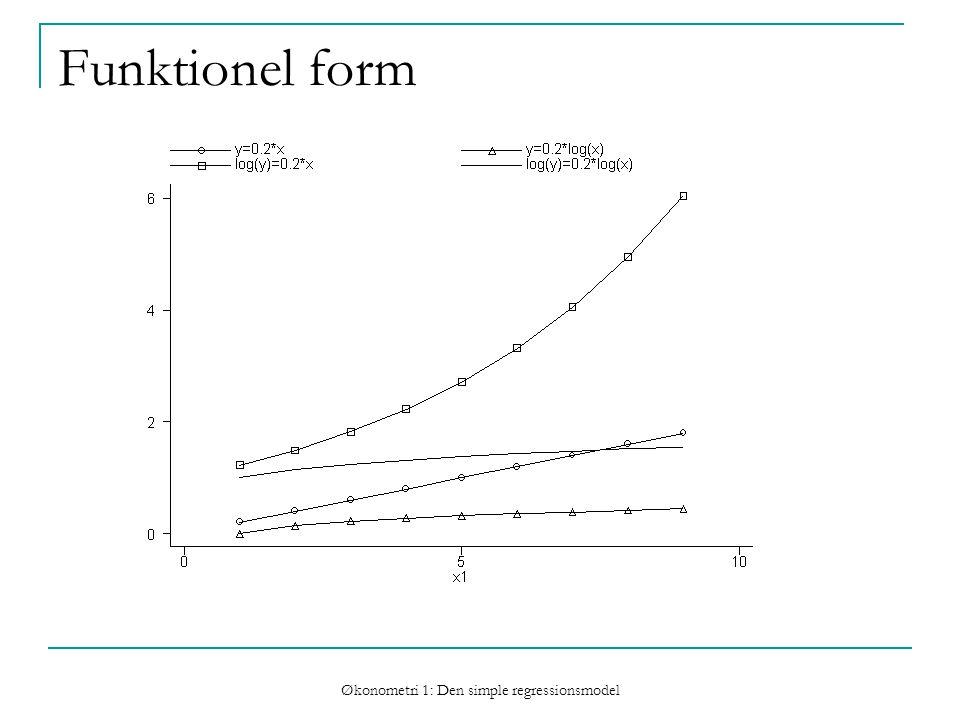 Økonometri 1: Den simple regressionsmodel Funktionel form