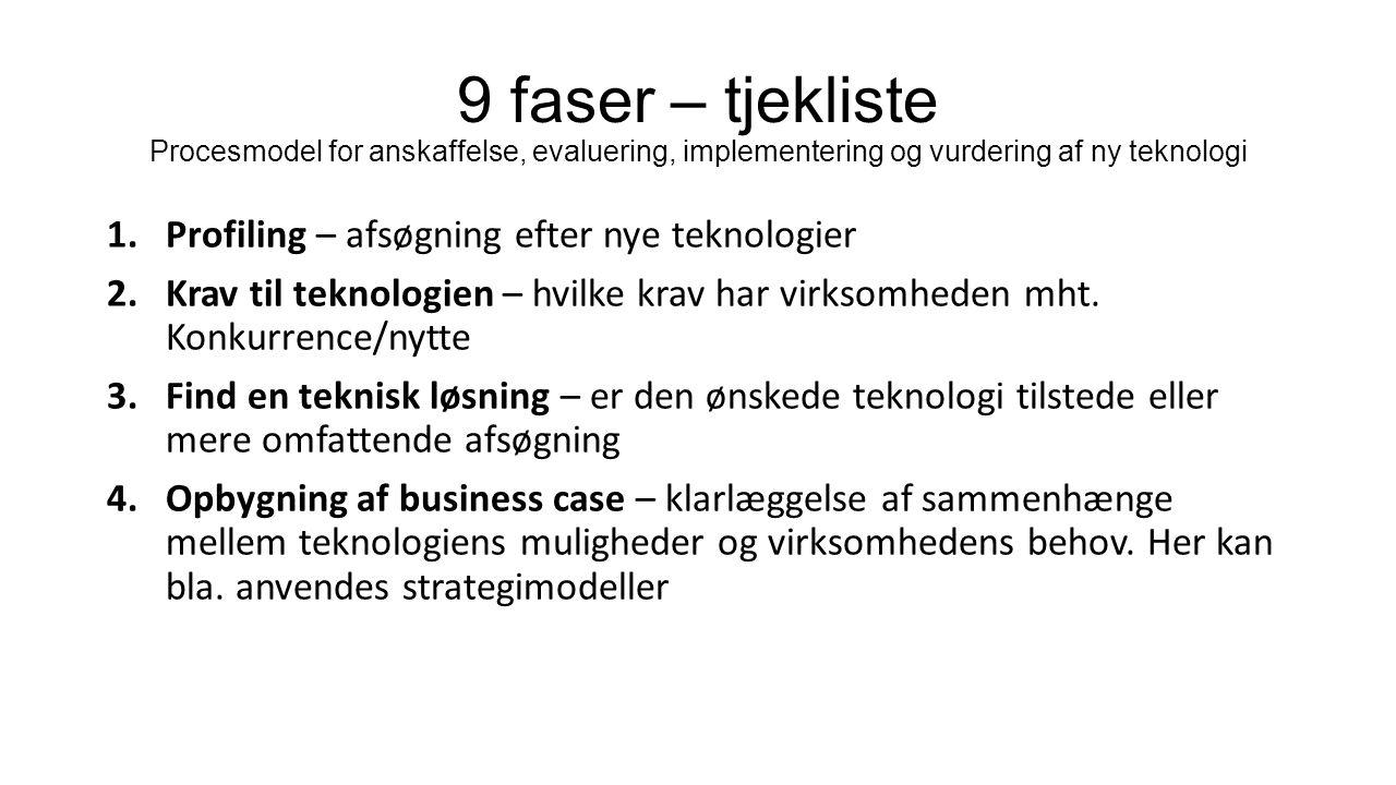 9 faser – tjekliste Procesmodel for anskaffelse, evaluering, implementering og vurdering af ny teknologi 1.Profiling – afsøgning efter nye teknologier 2.Krav til teknologien – hvilke krav har virksomheden mht.