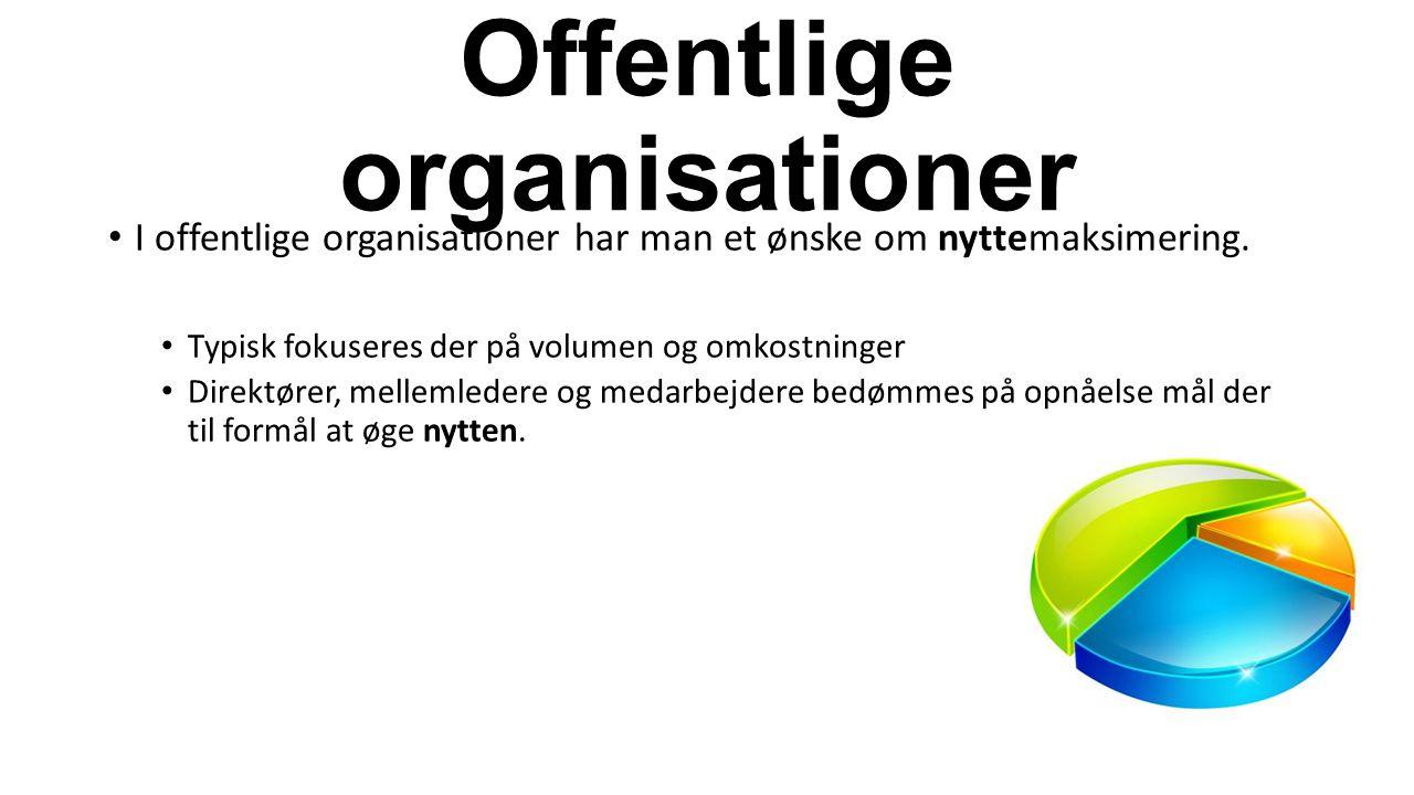 Offentlige organisationer I offentlige organisationer har man et ønske om nyttemaksimering.