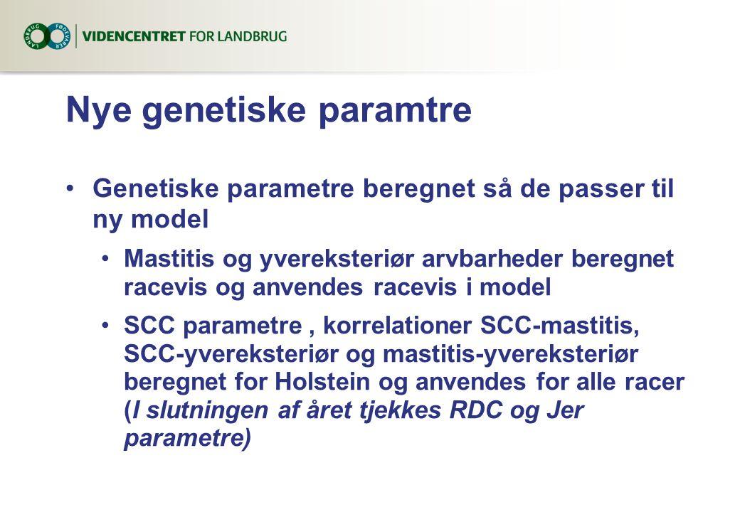 Nye genetiske paramtre Genetiske parametre beregnet så de passer til ny model Mastitis og yvereksteriør arvbarheder beregnet racevis og anvendes racevis i model SCC parametre, korrelationer SCC-mastitis, SCC-yvereksteriør og mastitis-yvereksteriør beregnet for Holstein og anvendes for alle racer (I slutningen af året tjekkes RDC og Jer parametre)