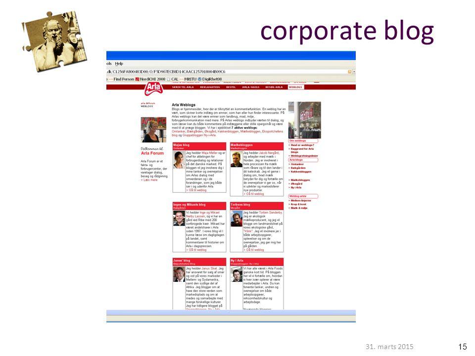 1531. marts 2015 corporate blog