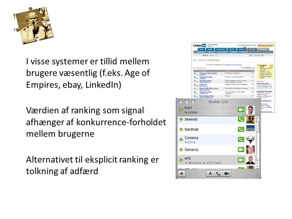 BRUGERRANKING I visse systemer er tillid mellem brugere væsentlig (f.eks.