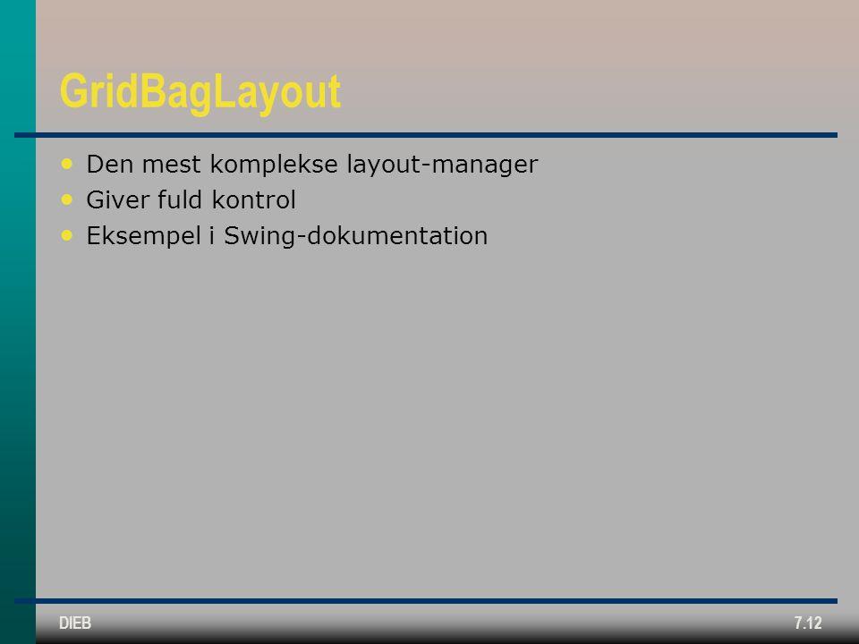 DIEB7.12 GridBagLayout Den mest komplekse layout-manager Giver fuld kontrol Eksempel i Swing-dokumentation