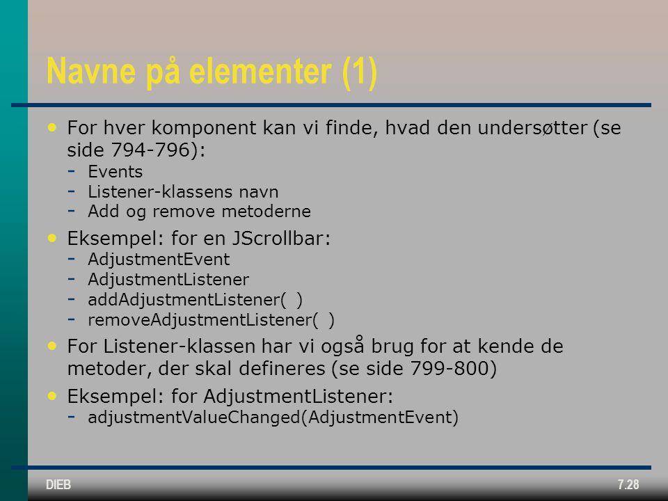 DIEB7.28 Navne på elementer (1) For hver komponent kan vi finde, hvad den undersøtter (se side 794-796):  Events  Listener-klassens navn  Add og remove metoderne Eksempel: for en JScrollbar:  AdjustmentEvent  AdjustmentListener  addAdjustmentListener( )  removeAdjustmentListener( ) For Listener-klassen har vi også brug for at kende de metoder, der skal defineres (se side 799-800) Eksempel: for AdjustmentListener:  adjustmentValueChanged(AdjustmentEvent)