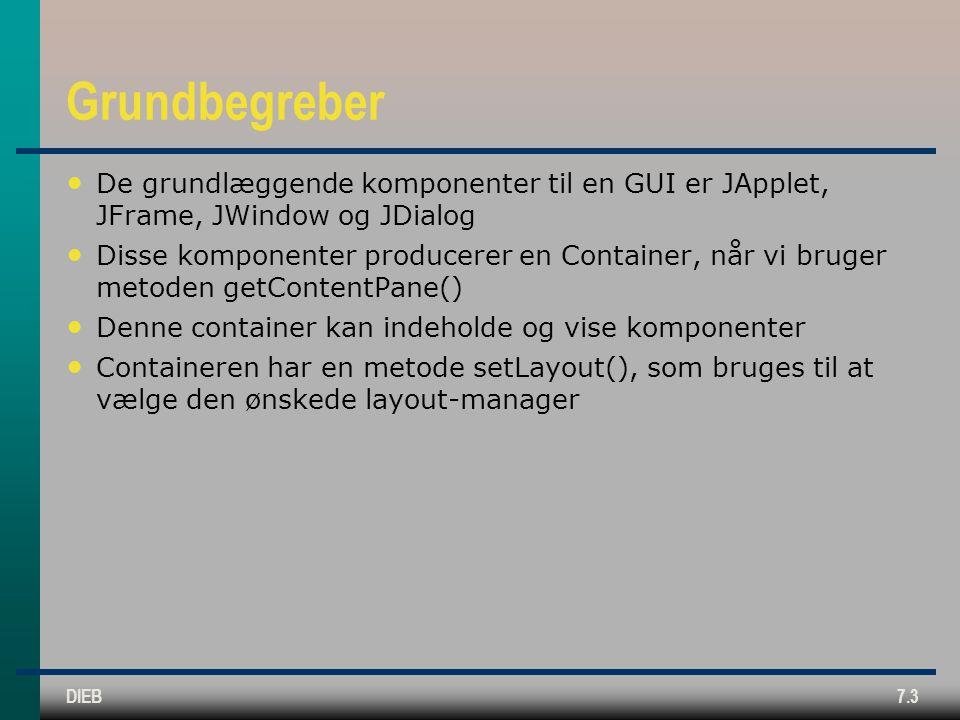 DIEB7.3 Grundbegreber De grundlæggende komponenter til en GUI er JApplet, JFrame, JWindow og JDialog Disse komponenter producerer en Container, når vi bruger metoden getContentPane() Denne container kan indeholde og vise komponenter Containeren har en metode setLayout(), som bruges til at vælge den ønskede layout-manager