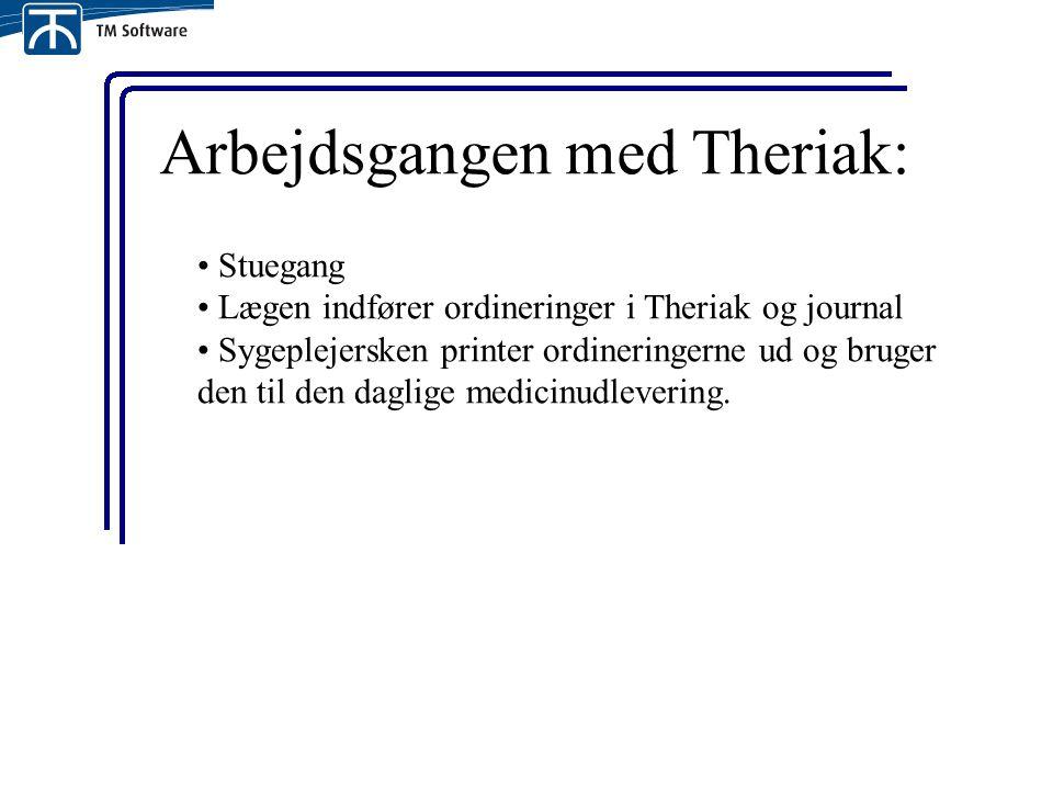 Arbejdsgangen med Theriak: Stuegang Lægen indfører ordineringer i Theriak og journal Sygeplejersken printer ordineringerne ud og bruger den til den daglige medicinudlevering.