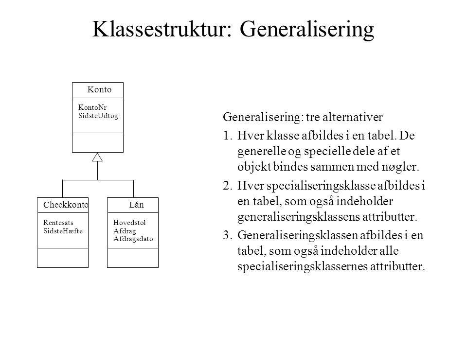 Klassestruktur: Generalisering Generalisering: tre alternativer 1.Hver klasse afbildes i en tabel.