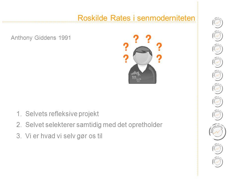 Roskilde Rates i senmoderniteten 1.Selvets refleksive projekt 2.Selvet selekterer samtidig med det opretholder 3.Vi er hvad vi selv gør os til Anthony Giddens 1991