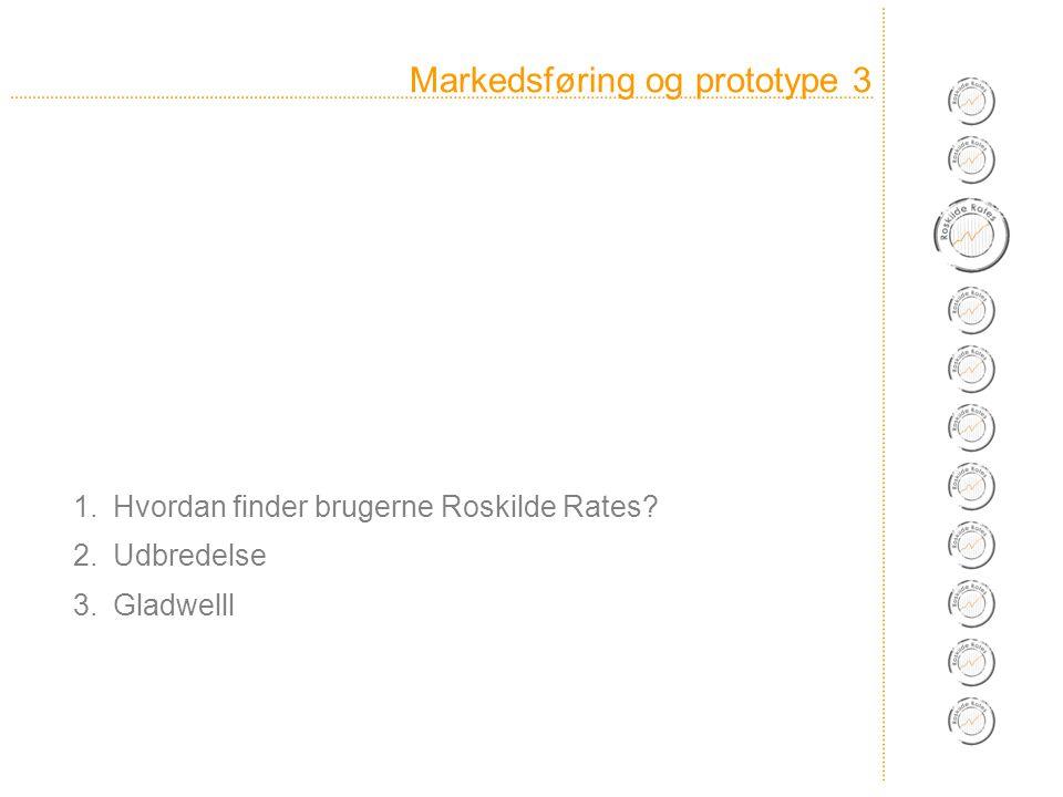 Markedsføring og prototype 3 1.Hvordan finder brugerne Roskilde Rates 2.Udbredelse 3.Gladwelll