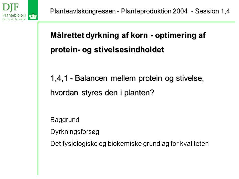 Planteavlskongressen - Planteproduktion 2004 - Session 1,4 Planteavlskongressen - Planteproduktion 2004 - Session 1,4 DJF DJF Plantebiologi Bernd Wollenweber Målrettet dyrkning af korn - optimering af protein- og stivelsesindholdet 1,4,1 - Balancen mellem protein og stivelse, hvordan styres den i planten.