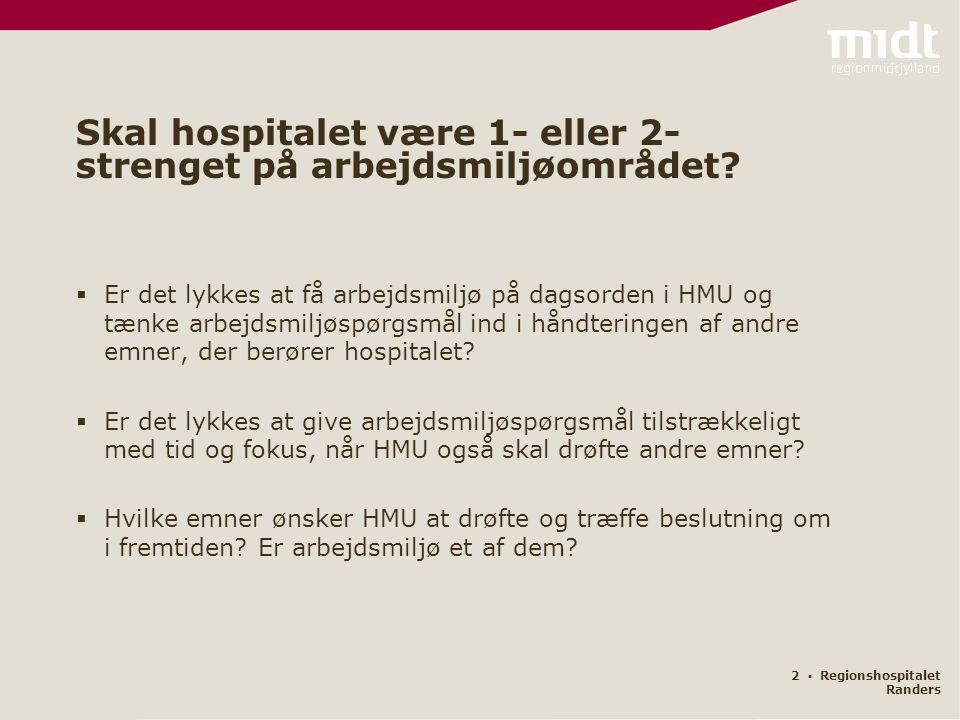 2 ▪ Regionshospitalet Randers  Er det lykkes at få arbejdsmiljø på dagsorden i HMU og tænke arbejdsmiljøspørgsmål ind i håndteringen af andre emner, der berører hospitalet.