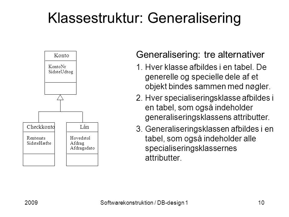 2009Softwarekonstruktion / DB-design 110 Klassestruktur: Generalisering Generalisering: tre alternativer 1.Hver klasse afbildes i en tabel.