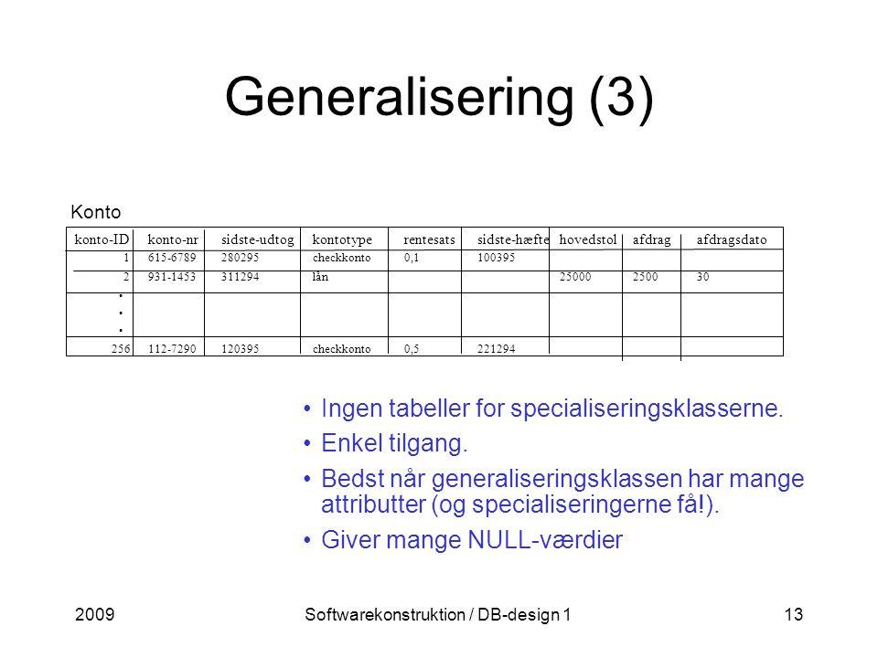 2009Softwarekonstruktion / DB-design 113 Generalisering (3) Konto Ingen tabeller for specialiseringsklasserne.