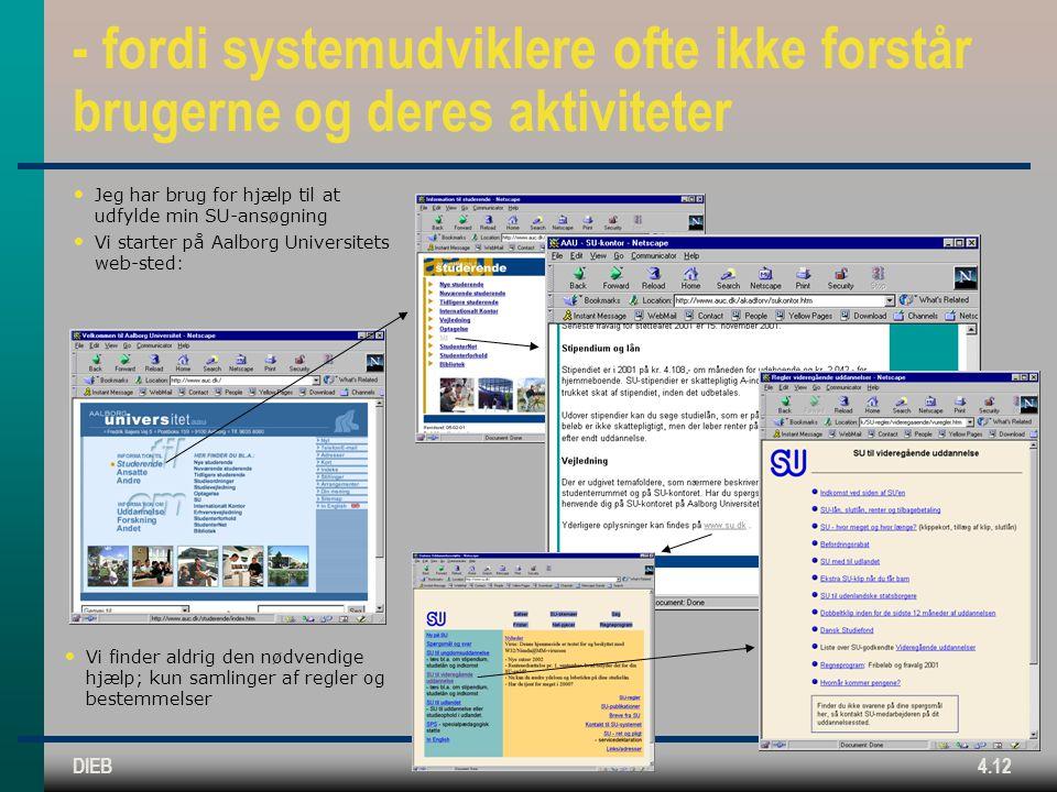 DIEB4.12 - fordi systemudviklere ofte ikke forstår brugerne og deres aktiviteter Jeg har brug for hjælp til at udfylde min SU-ansøgning Vi starter på Aalborg Universitets web-sted: Vi finder aldrig den nødvendige hjælp; kun samlinger af regler og bestemmelser
