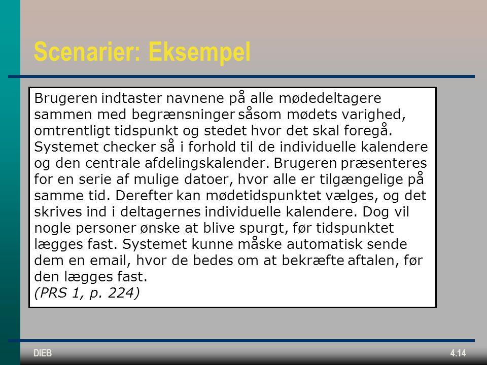 DIEB4.14 Scenarier: Eksempel Brugeren indtaster navnene på alle mødedeltagere sammen med begrænsninger såsom mødets varighed, omtrentligt tidspunkt og stedet hvor det skal foregå.