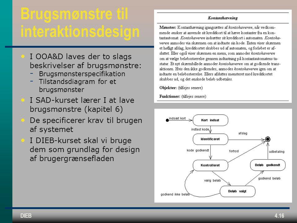 DIEB4.16 Brugsmønstre til interaktionsdesign I OOA&D laves der to slags beskrivelser af brugsmønstre:  Brugsmønsterspecifikation  Tilstandsdiagram for et brugsmønster I SAD-kurset lærer I at lave brugsmønstre (kapitel 6) De specificerer krav til brugen af systemet I DIEB-kurset skal vi bruge dem som grundlag for design af brugergrænsefladen