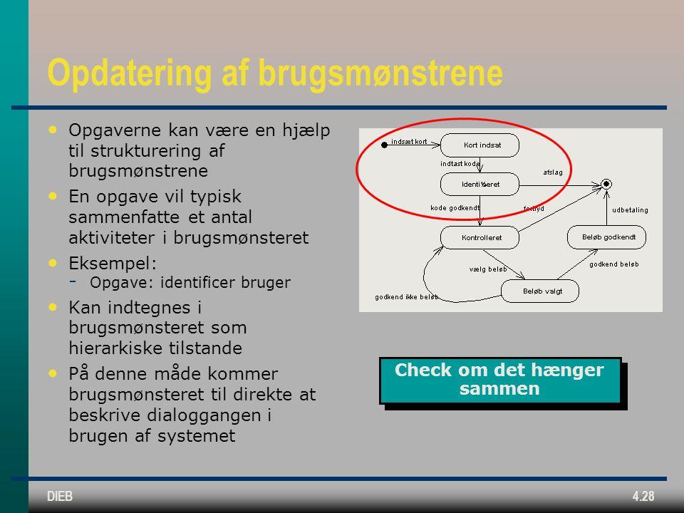 DIEB4.28 Opdatering af brugsmønstrene Opgaverne kan være en hjælp til strukturering af brugsmønstrene En opgave vil typisk sammenfatte et antal aktiviteter i brugsmønsteret Eksempel:  Opgave: identificer bruger Kan indtegnes i brugsmønsteret som hierarkiske tilstande På denne måde kommer brugsmønsteret til direkte at beskrive dialoggangen i brugen af systemet Check om det hænger sammen