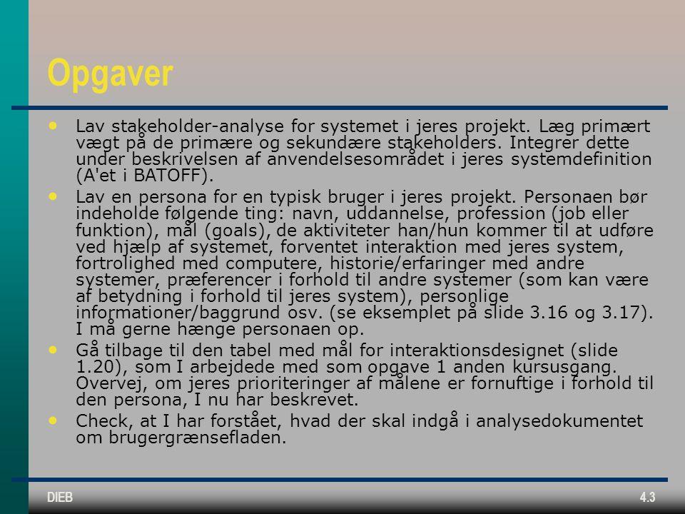 DIEB4.3 Opgaver Lav stakeholder-analyse for systemet i jeres projekt.