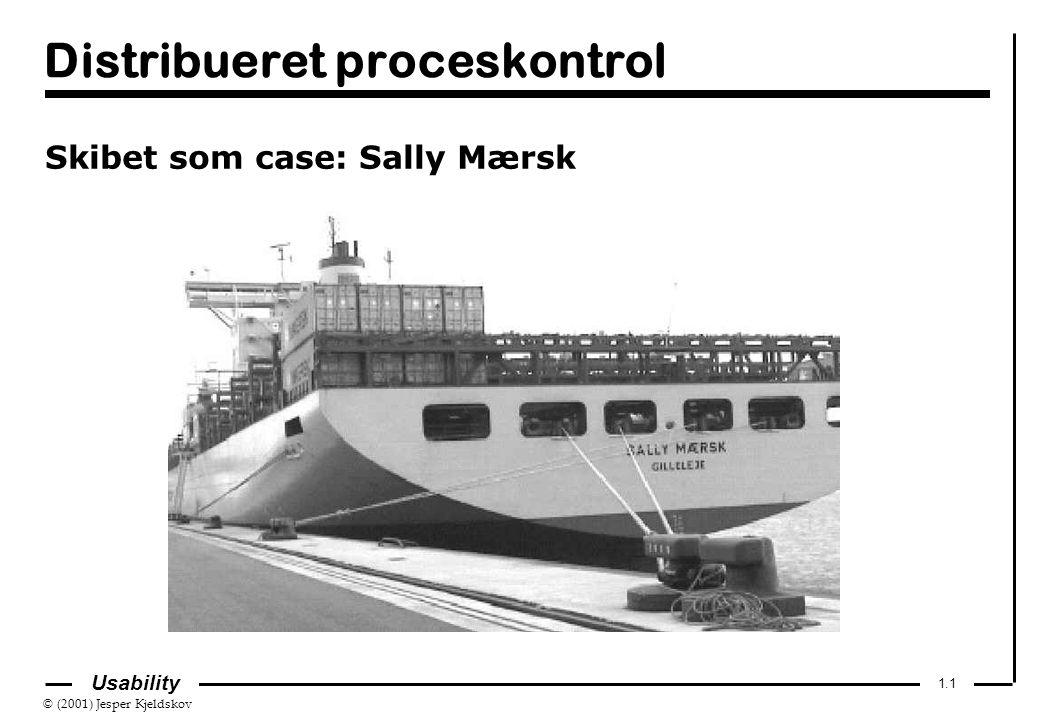 © (2001) Jesper Kjeldskov 1.1 Usability Distribueret proceskontrol Skibet som case: Sally Mærsk