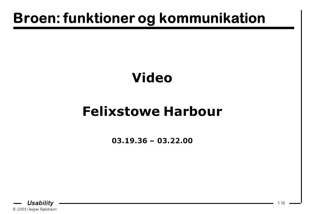 © (2001) Jesper Kjeldskov 1.10 Usability Broen: funktioner og kommunikation Video Felixstowe Harbour 03.19.36 – 03.22.00