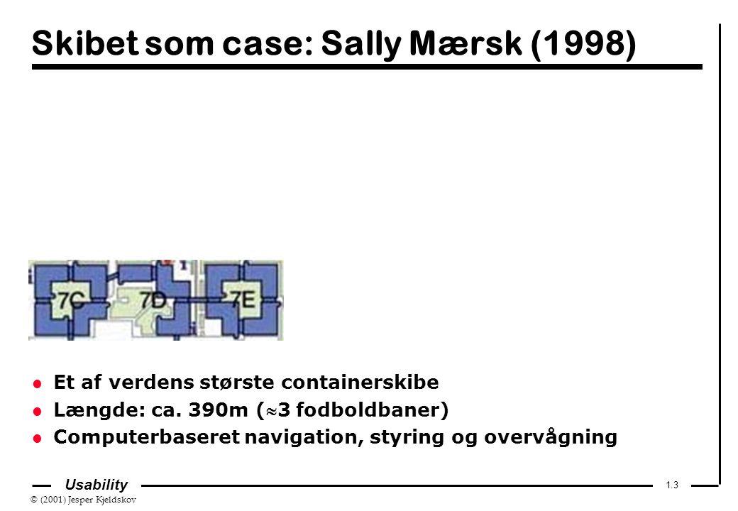 © (2001) Jesper Kjeldskov 1.3 Usability Skibet som case: Sally Mærsk (1998) l Et af verdens største containerskibe l Længde: ca.