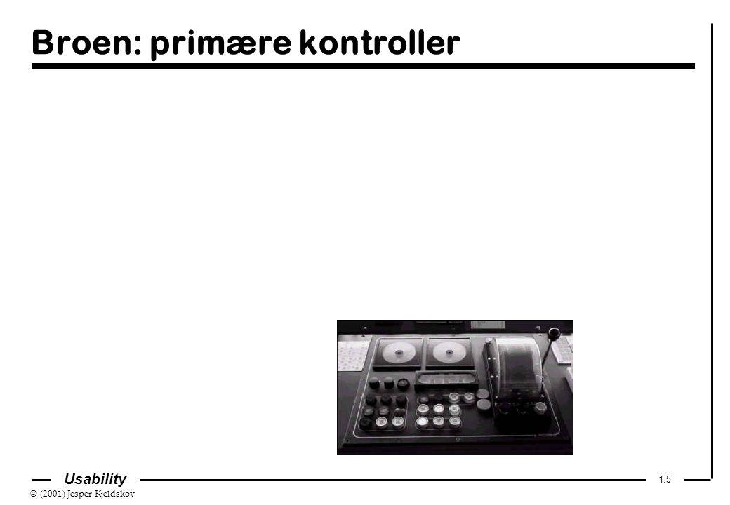 © (2001) Jesper Kjeldskov 1.5 Usability Broen: primære kontroller
