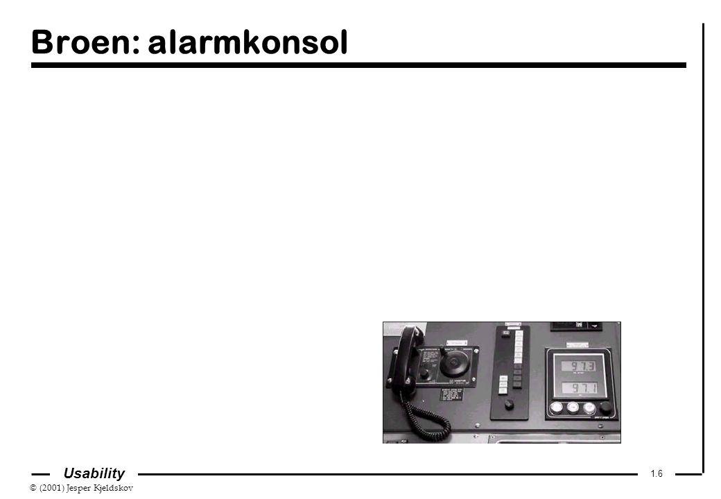 © (2001) Jesper Kjeldskov 1.6 Usability Broen: alarmkonsol