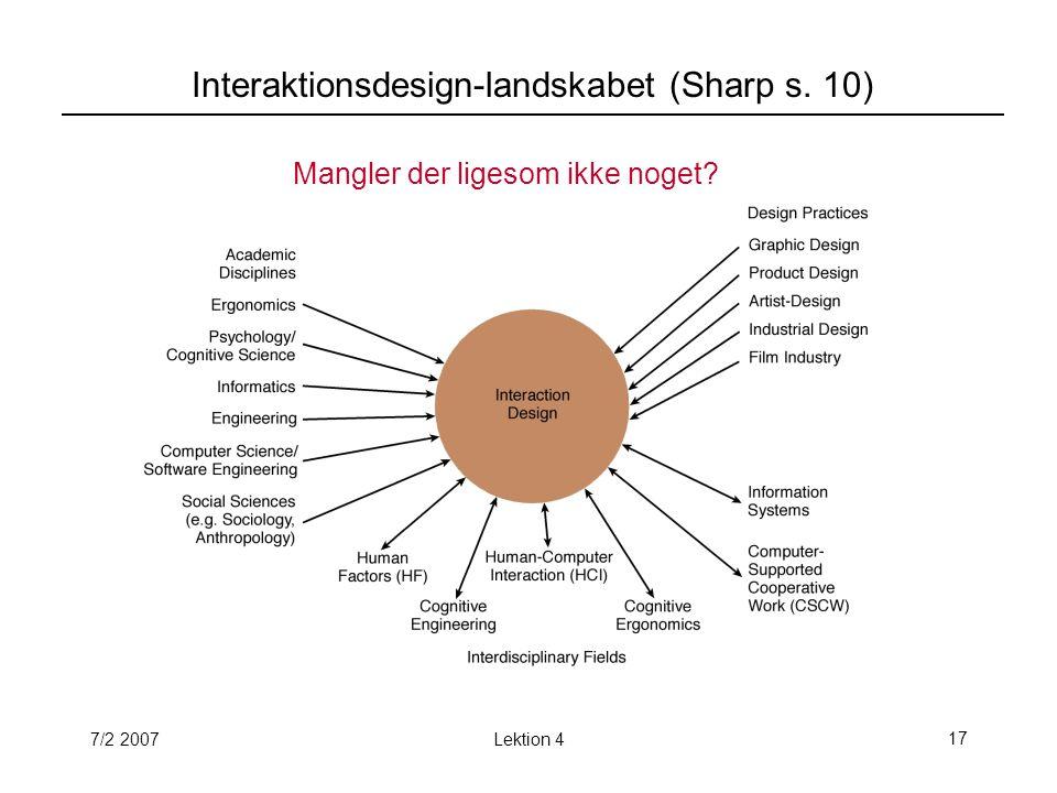 7/2 2007Lektion 417 Interaktionsdesign-landskabet (Sharp s. 10) Mangler der ligesom ikke noget