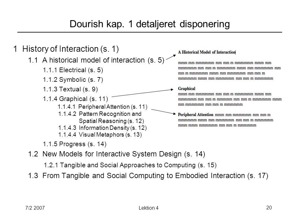 7/2 2007Lektion 420 Dourish kap. 1 detaljeret disponering 1 History of Interaction (s.