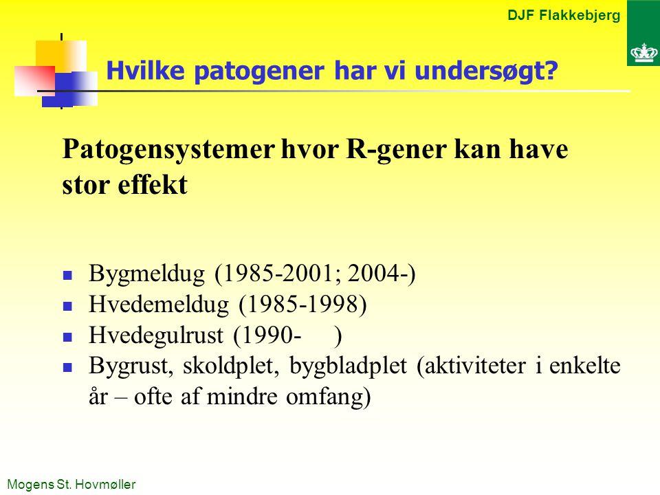 DJF Flakkebjerg Mogens St. Hovmøller Hvilke patogener har vi undersøgt.