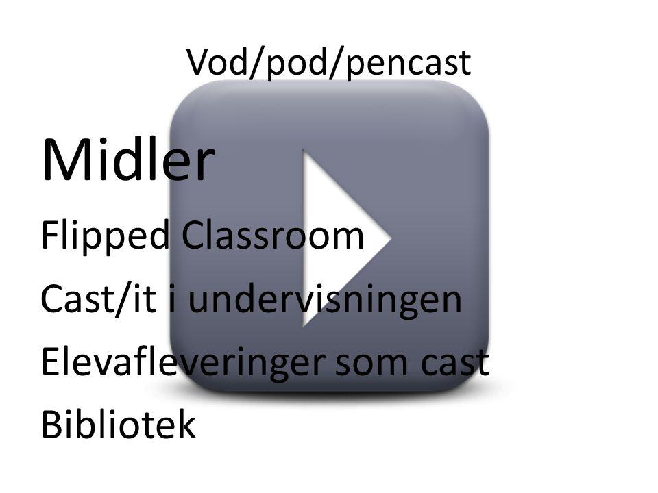 Vod/pod/pencast Midler Flipped Classroom Cast/it i undervisningen Elevafleveringer som cast Bibliotek
