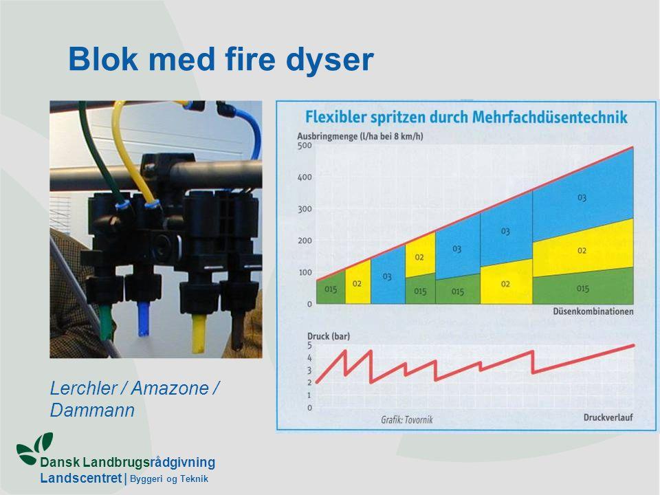 Dansk Landbrugsrådgivning Landscentret | Byggeri og Teknik Blok med fire dyser Lerchler / Amazone / Dammann