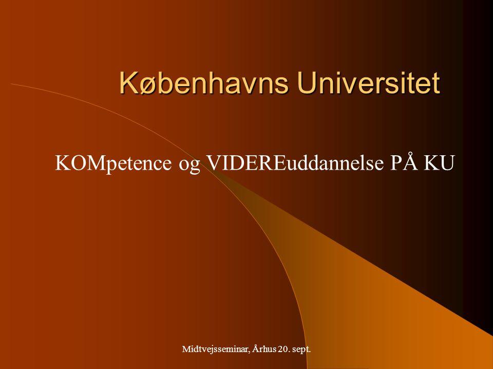 Midtvejsseminar, Århus 20. sept. Københavns Universitet KOMpetence og VIDEREuddannelse PÅ KU