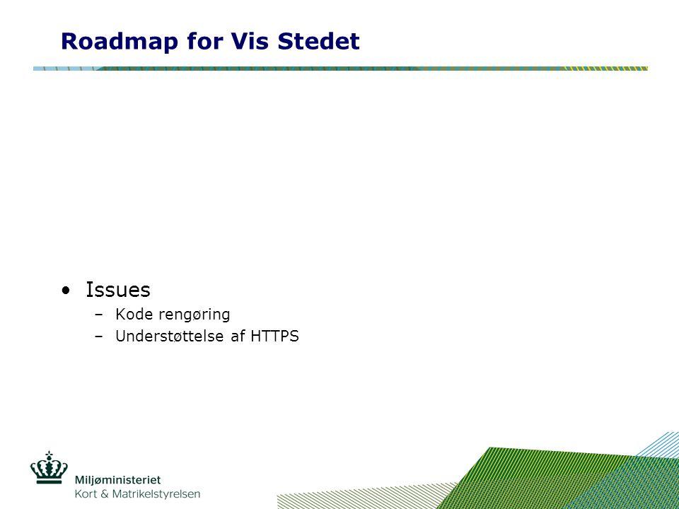 Roadmap for Vis Stedet Issues –Kode rengøring –Understøttelse af HTTPS
