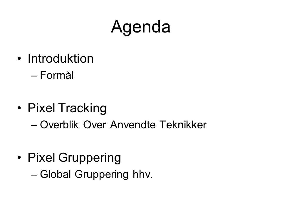 Agenda Introduktion –Formål Pixel Tracking –Overblik Over Anvendte Teknikker Pixel Gruppering –Global Gruppering hhv.