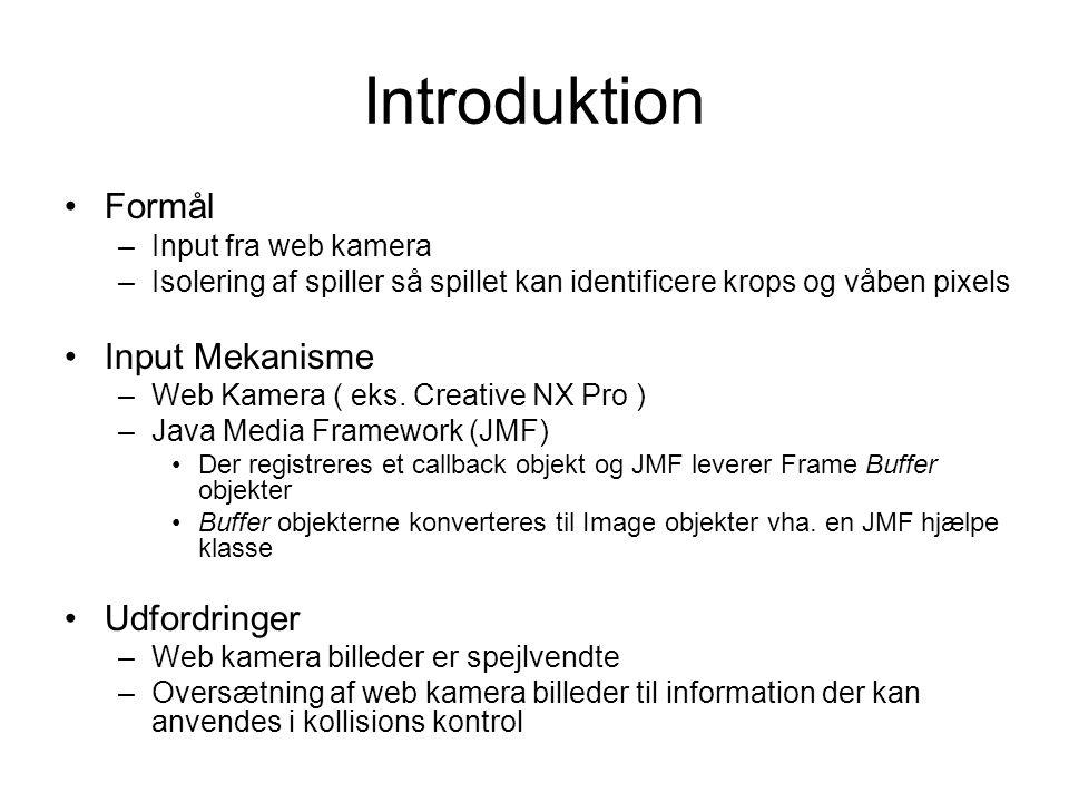 Introduktion Formål –Input fra web kamera –Isolering af spiller så spillet kan identificere krops og våben pixels Input Mekanisme –Web Kamera ( eks.